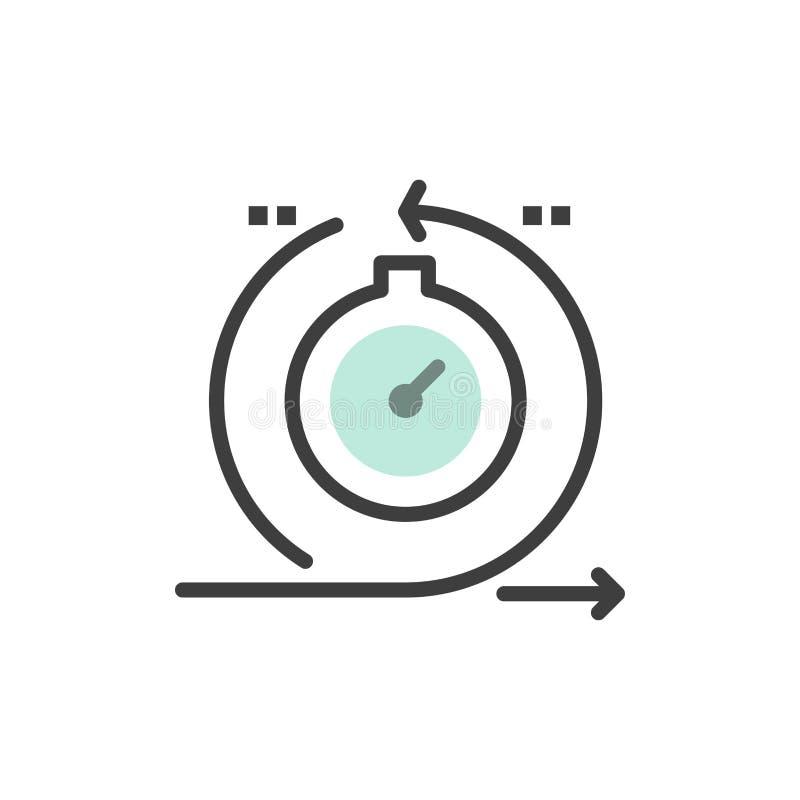 Lättrörligt cirkulering, utveckling som är snabb, plan färgsymbol för upprepning Mall för vektorsymbolsbaner vektor illustrationer