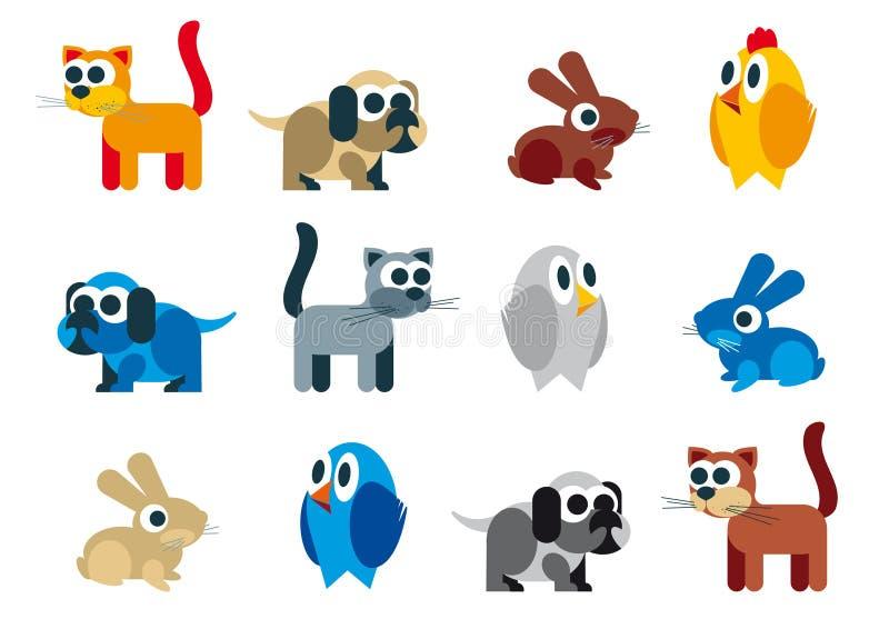 Lättrogen karikatyr för djurraster stock illustrationer