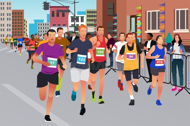 Läufer, die in einen Marathon-Wettbewerb laufen vektor abbildung