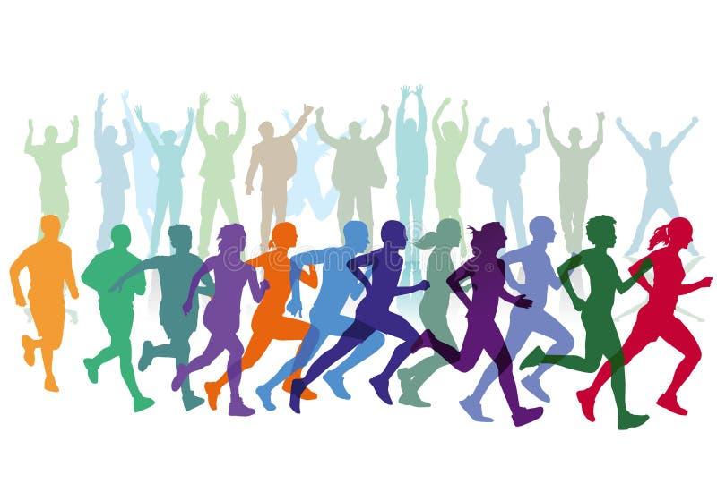 Läufer im Rennen mit Zuschauern lizenzfreie abbildung