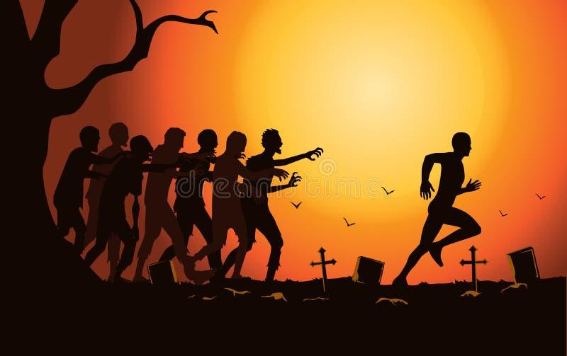 Läufer laufen weg von Zombiegruppe im Friedhof stock abbildung