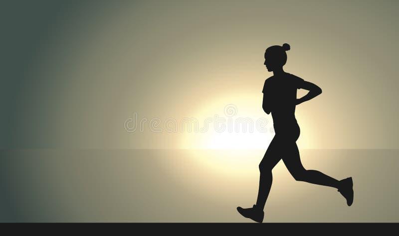 Läuferfrau auf dem Sonnenuntergang stock abbildung