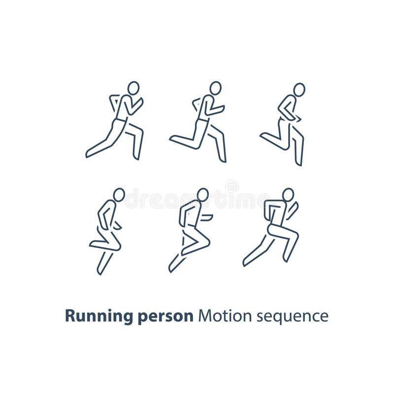 Läuferlogo, laufendes Konzept der Personenlinie Ikone, des Bewegungsablaufsatzes, des Marathons und des Triathlon lizenzfreie abbildung
