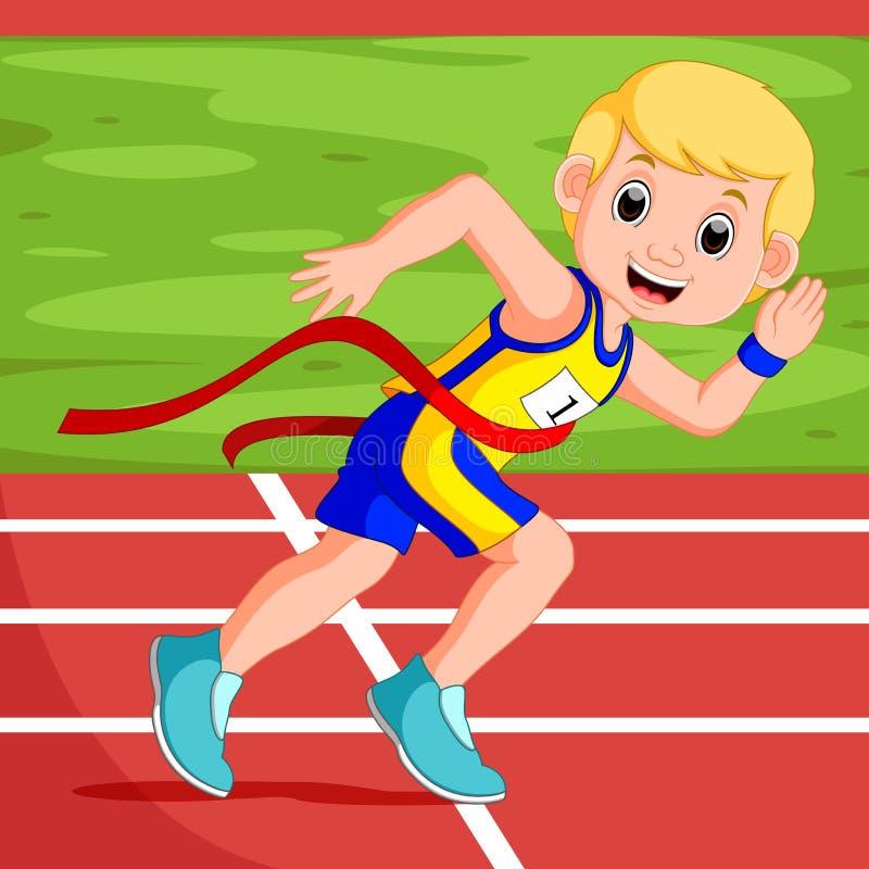 Läufermann, der ein Rennen gewinnt stock abbildung