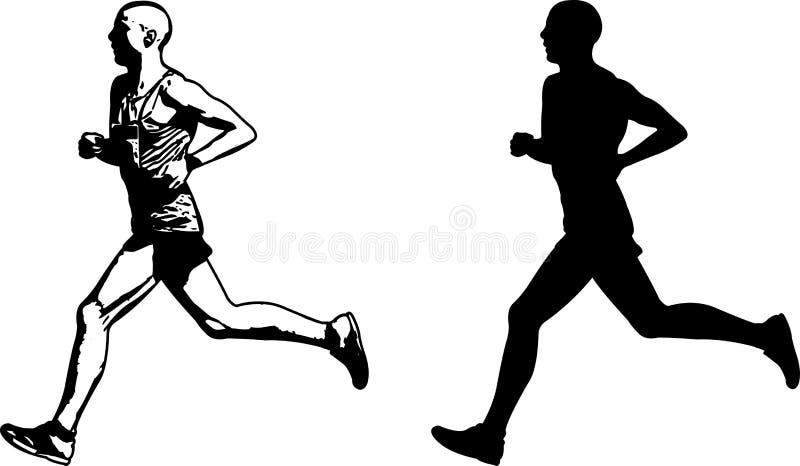 Läuferskizze und -schattenbild stock abbildung