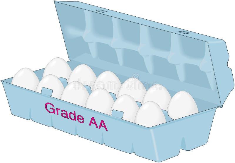 Låda av äggvektorillustrationen stock illustrationer