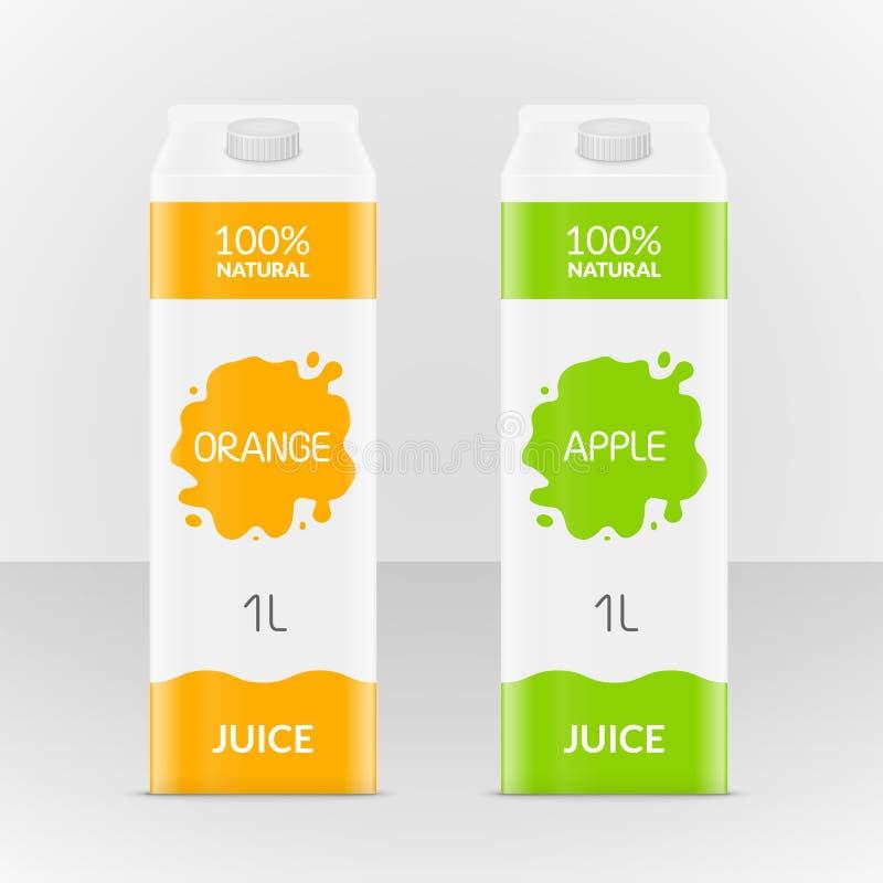 Låda för tomt äpple som eller för orange fruktsaft brännmärker asken Fruktsaft eller mjölkar papppacken Illustration för liten as vektor illustrationer