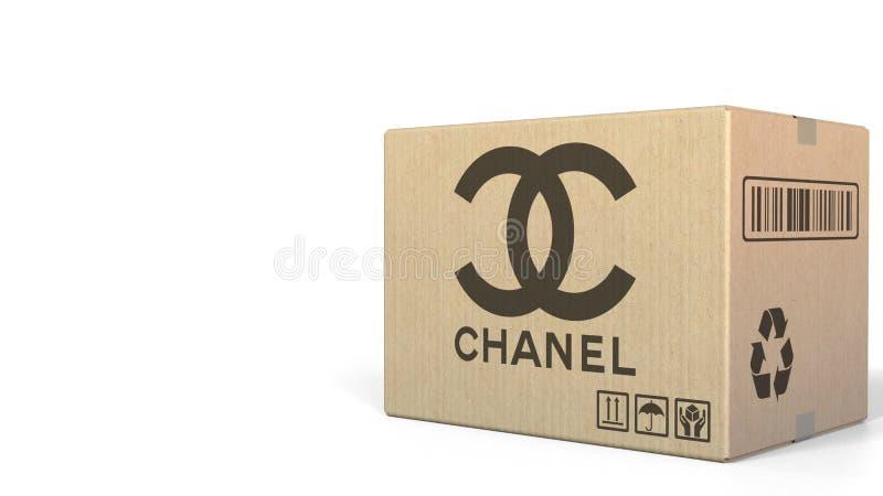 Låda med den Chanel logoen Redaktörs- tolkning 3D stock illustrationer