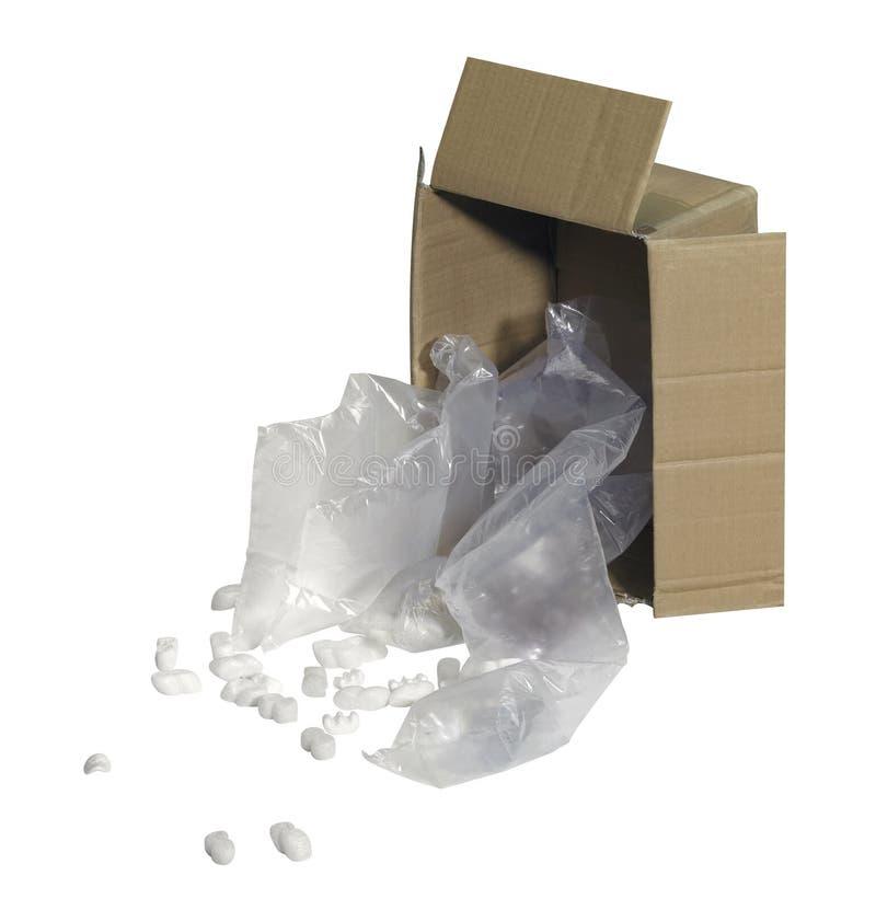 Låda och fyllnads- material arkivfoto