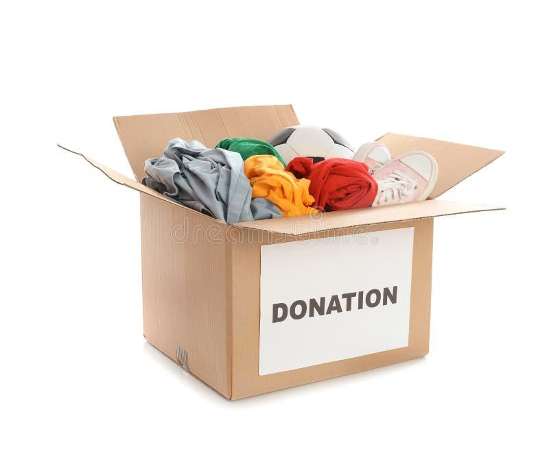 Lådaask med donationer arkivfoton