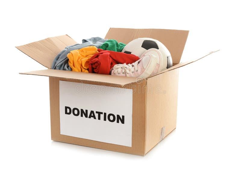 Lådaask med donationer arkivfoto