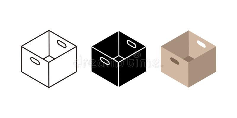 Lådaasksymboler Plana svarta och linjära kartong- och hemsändningsymboler, stolpejordlotter och sändande packe stock illustrationer