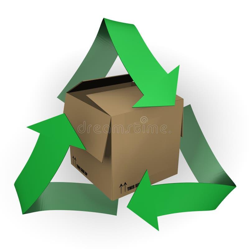 lådabilden för asken 3d återanvänder symbol vektor illustrationer