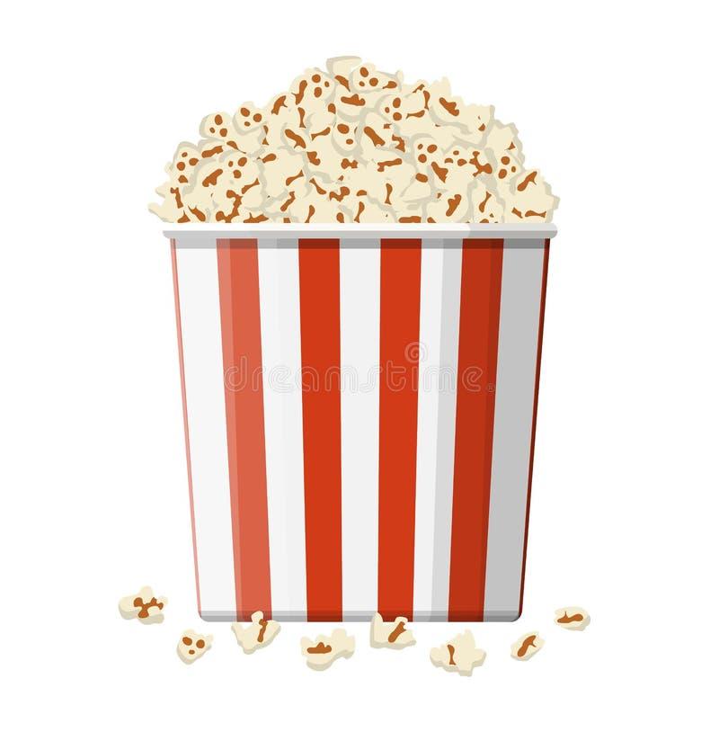 Lådabunke mycket av popcorn stock illustrationer