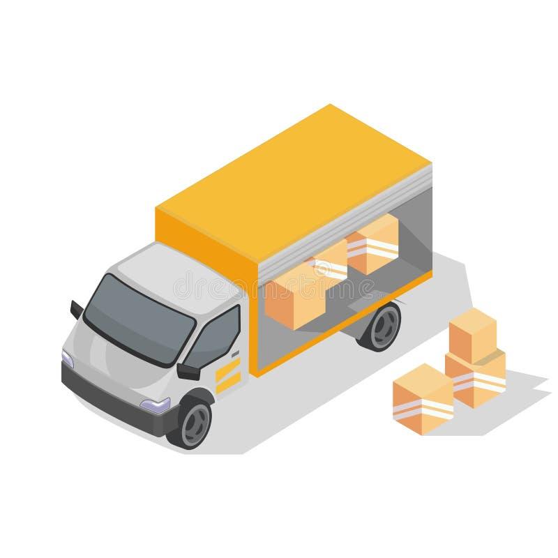 Lådlastbil med gul kropp är redo att leverera paket Förpackning med varor i kartong royaltyfri illustrationer