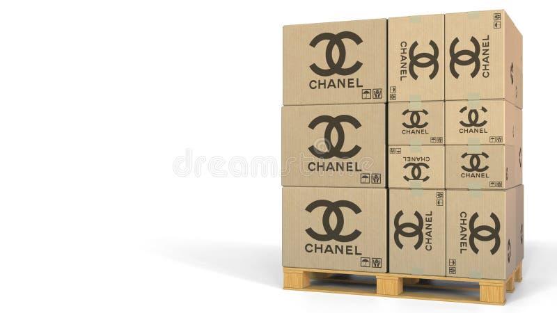 Lådor med den Chanel logoen Redaktörs- tolkning 3D stock illustrationer