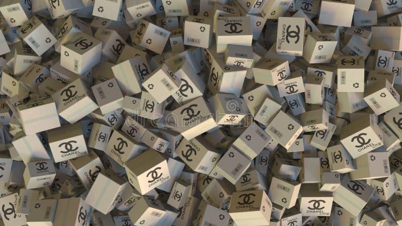 Lådor med den Chanel logoen Redaktörs- tolkning 3D vektor illustrationer