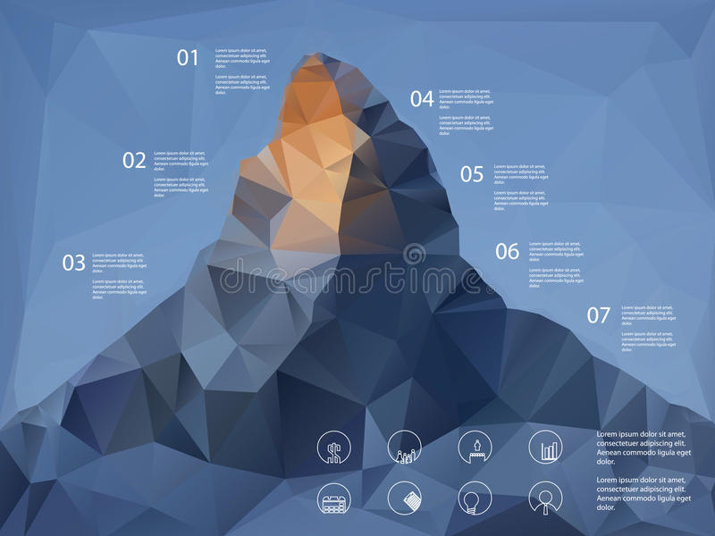 Låg bergbakgrund för polygonal form linje vektor illustrationer
