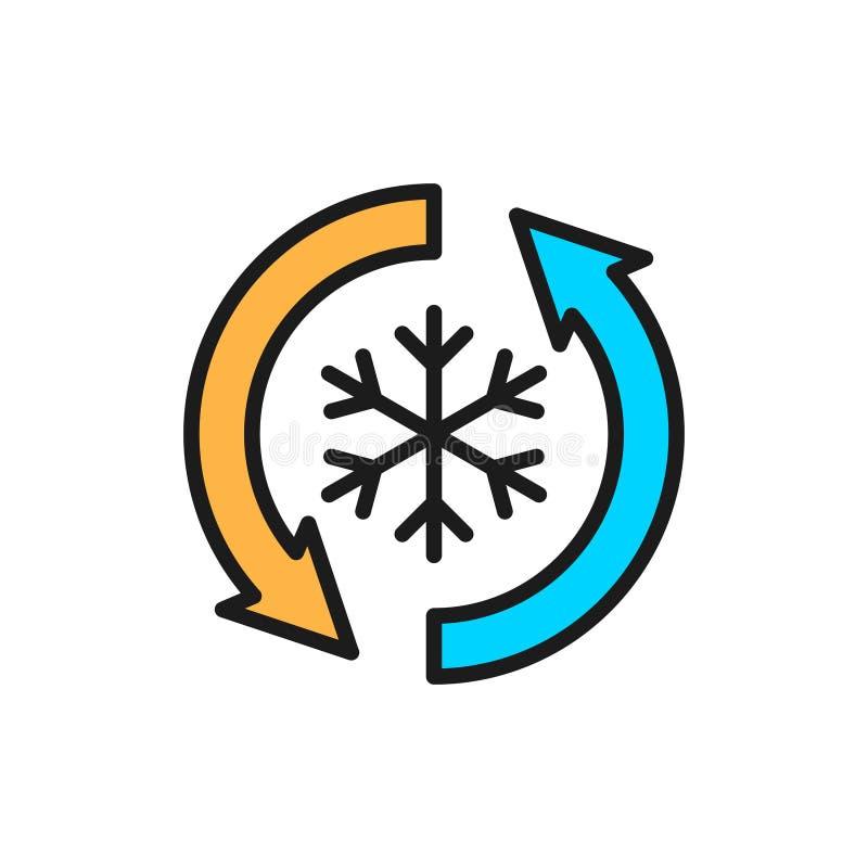 Låg frost, ingen frost, frysikon för platt färglinje vektor illustrationer