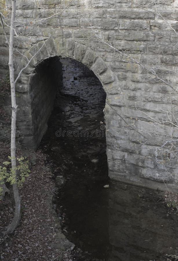 Låg liggande tunnelpassage nedanför en bro royaltyfria bilder