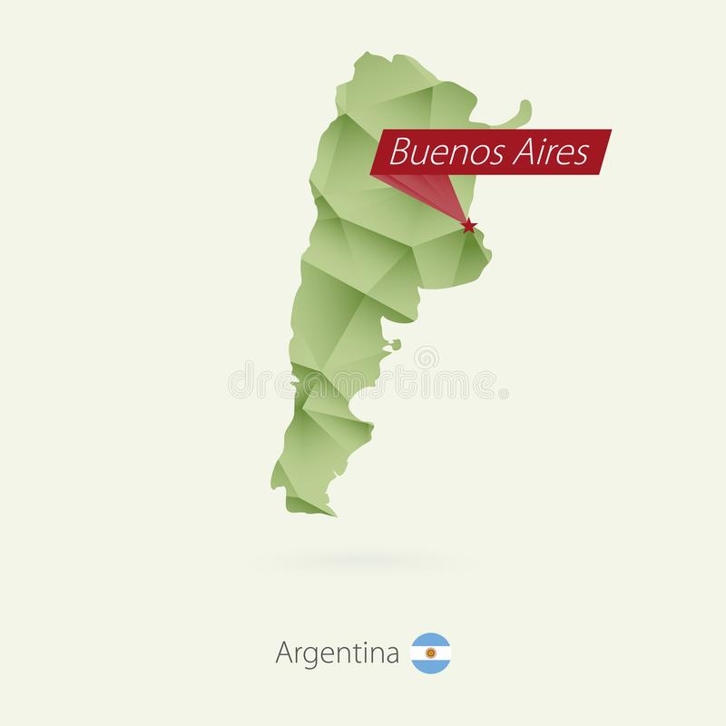 Låg poly översikt för grön lutning av Argentina med huvudstad Buenos Aires vektor illustrationer