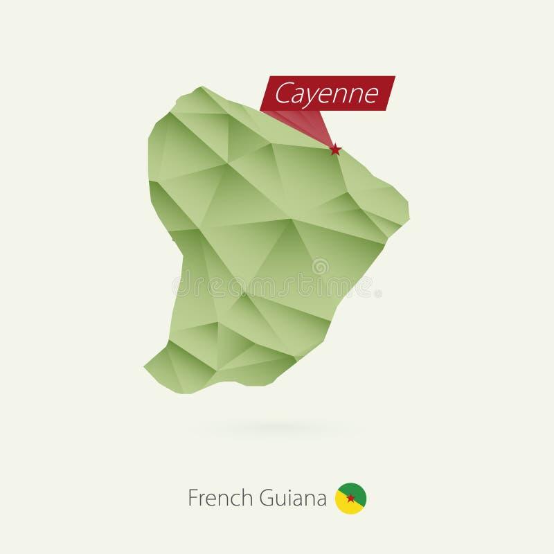 Låg poly översikt för grön lutning av Franska Guyana med huvudstad Cayenne stock illustrationer