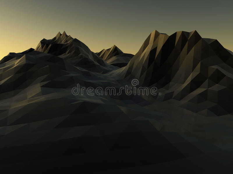 Låg poly bakgrund för berg framförande 3d vektor illustrationer