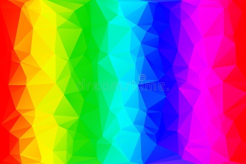 Låg poly bakgrund för regnbåge vektor illustrationer