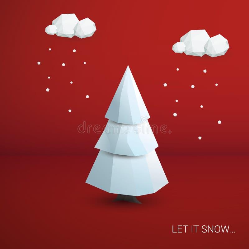 låg poly bakgrund för vektor för träd för jul 3d royaltyfri illustrationer