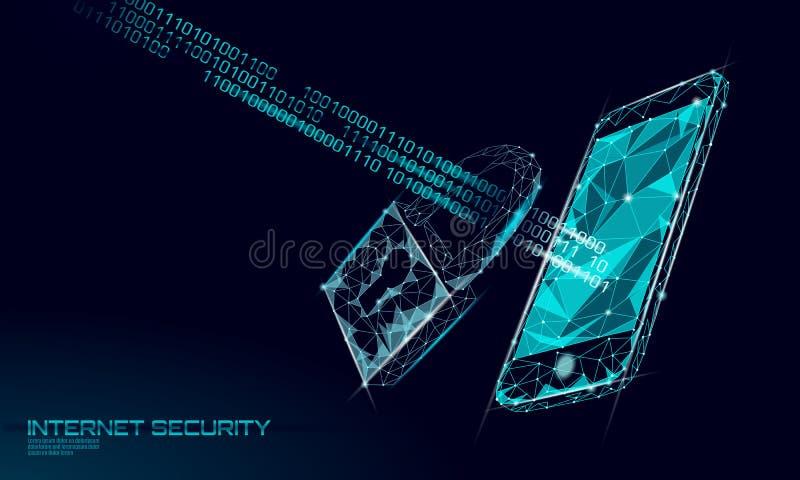 Låg poly cybersäkerhetshänglås på smartphonedata Innovation för avskildhet för information om internetsäkerhetslås polygonal fram stock illustrationer