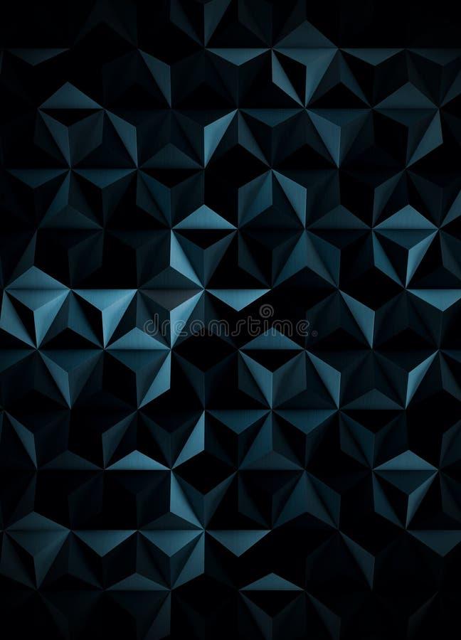 Låg Poly extra mörk Cyanotype abstrakt begreppbakgrund stock illustrationer