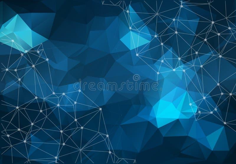 låg poly förbinda och prickbakgrund Vektortechdesign vektor illustrationer
