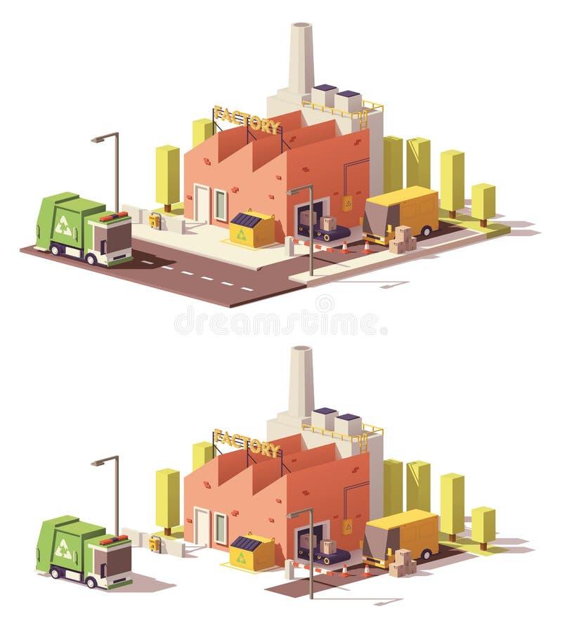Låg poly fabrikssymbol för vektor stock illustrationer