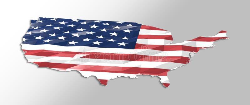 Låg poly flagga i översikt av Förenta staterna royaltyfri illustrationer