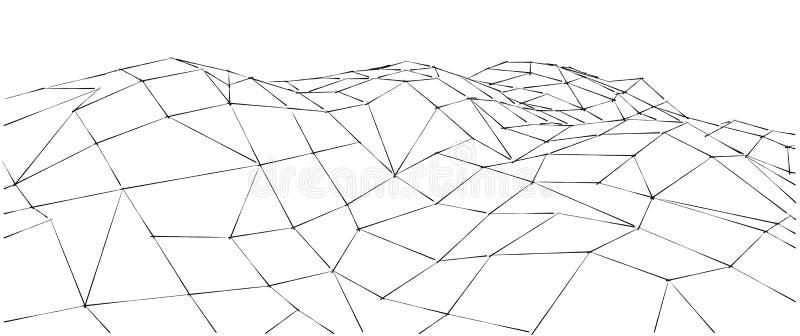Låg-poly geometriskt landskap för berg 3D abstrakt bakgrund vektor illustrationer