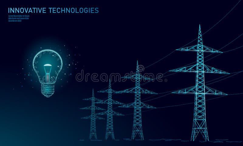 Låg poly hög kula för spänningskraftledningidé Översikter för pyloner för bransch för elektricitetstillförsel på blå himmel för m vektor illustrationer