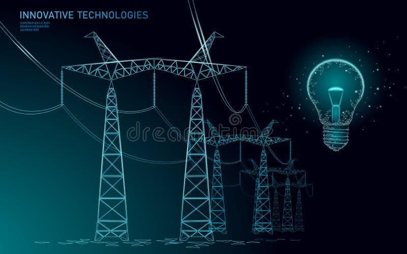 Låg poly hög kula för spänningskraftledningidé Översikter för pyloner för bransch för elektricitetstillförsel på blå himmel för m stock illustrationer