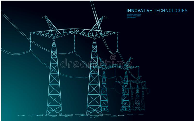 Låg poly hög spänningskraftledningkontur Översikter för pyloner för bransch för elektricitetstillförsel på blå himmel för mörk na stock illustrationer