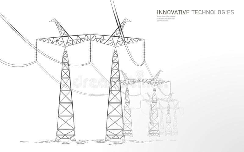 Låg poly hög spänningskraftledningkontur Översikter för pyloner för bransch för elektricitetstillförsel på blå himmel för mörk na vektor illustrationer
