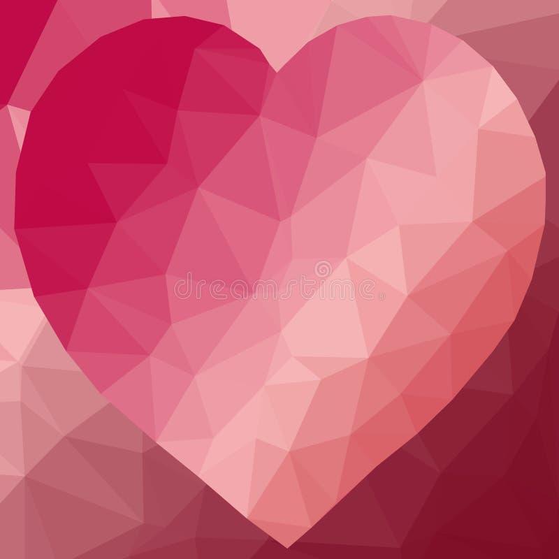 Låg poly hjärta stock illustrationer