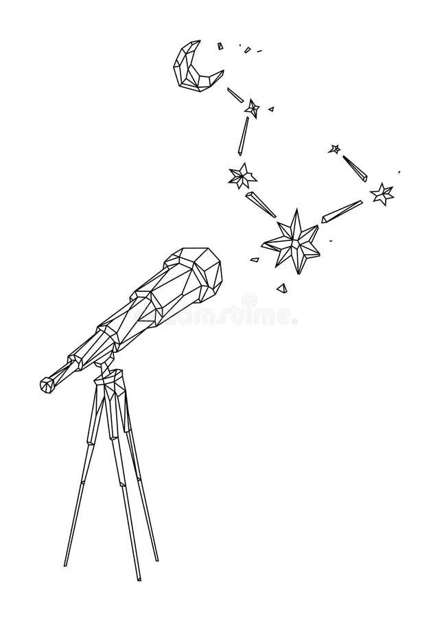Låg poly illustration av ett teleskop mot en stjärnklar himmel och månen vektor ?versiktsteckning retro stil Bakgrund symbol, royaltyfri illustrationer