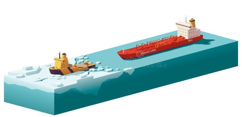 Låg poly isbrytare för vektor som bryter isen vektor illustrationer