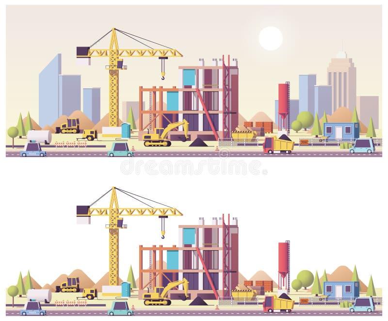 Låg poly konstruktionsplats för vektor royaltyfri illustrationer