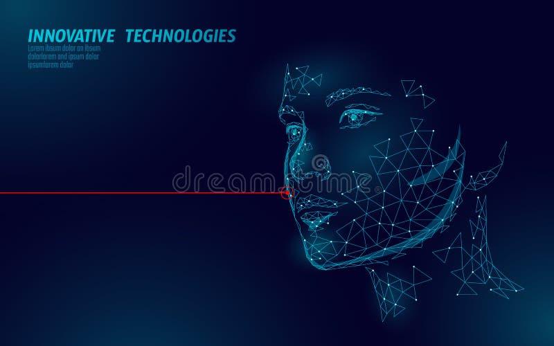 Låg poly kvinnlig för laser-hud för mänsklig framsida behandling Omsorg för salong för föryngringtillvägagångssättskönhet Klinikm royaltyfri illustrationer