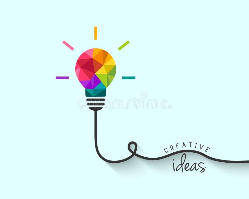 Låg poly lightbulb som idérikt idébegrepp royaltyfri illustrationer