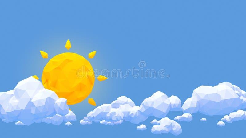 Låg poly moln och sol i blå himmel vektor illustrationer