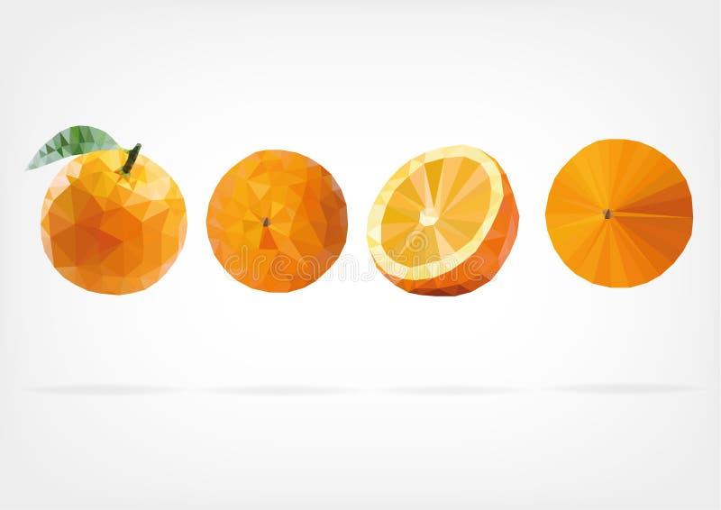 Låg Poly orange frukt stock illustrationer