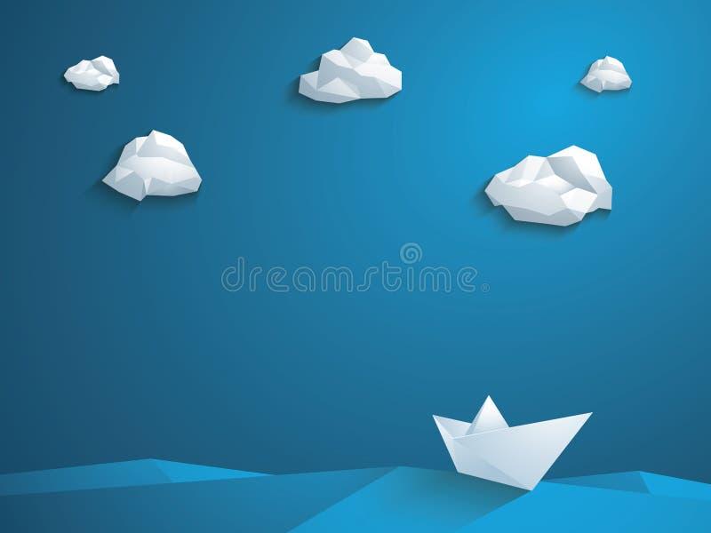 Låg poly pappers- fartygvektorbakgrund polygonal vektor illustrationer