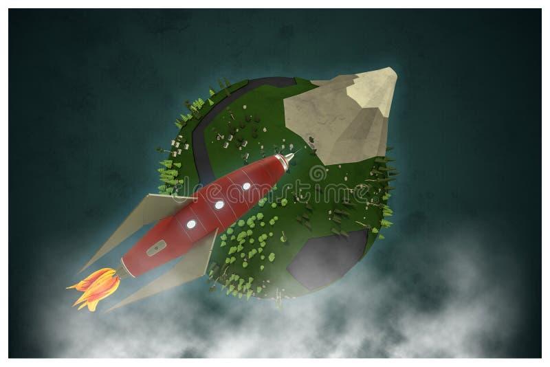 Låg poly planet royaltyfri illustrationer