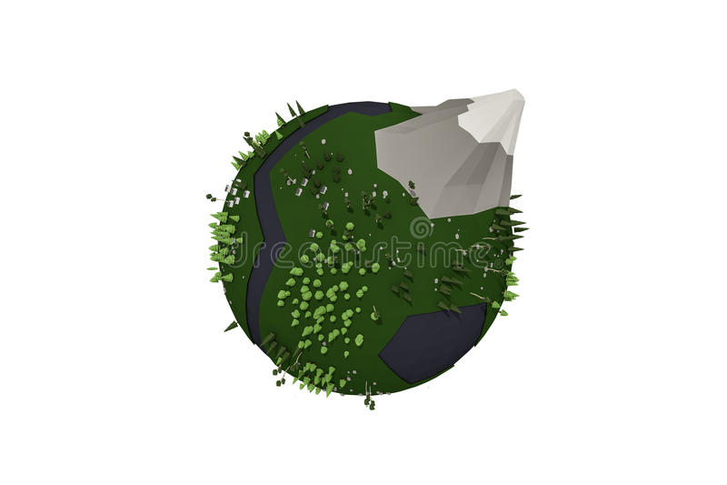 Låg poly planet stock illustrationer